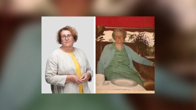 Bilde av Olaug Bollestad side om side med bilde av Ingeborg Sørhus, som var en viktig figur for Olaug i oppveksten.