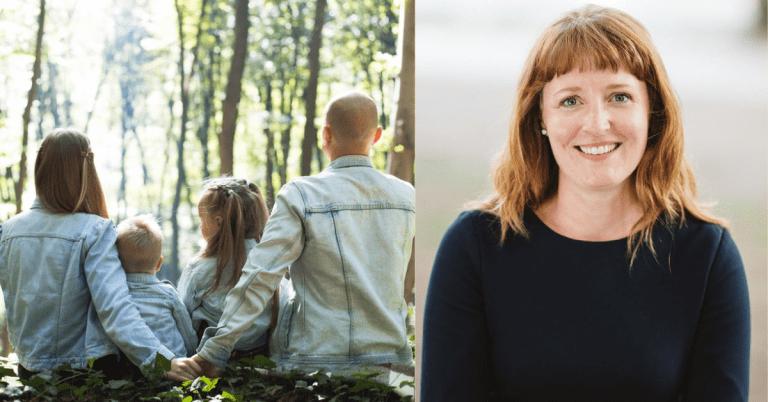Todelt bilde: bilde av en familie til venstre, bilde av Ingelin Noresjæ til høyre